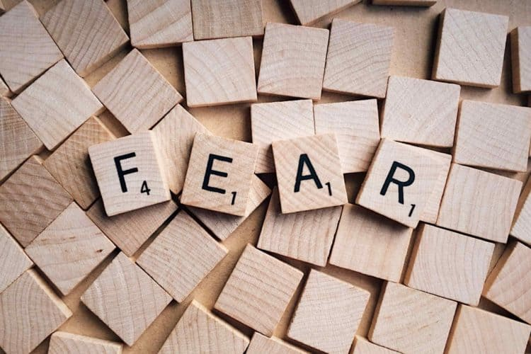 Picture of letters spelling fear