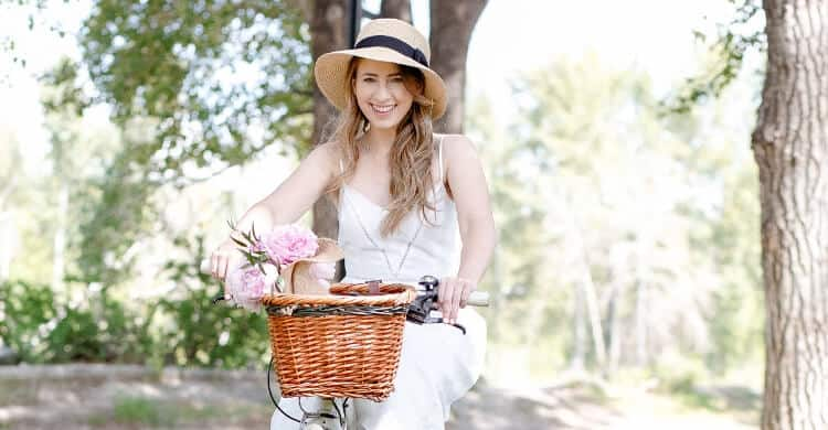 Picture of happy woman on bike